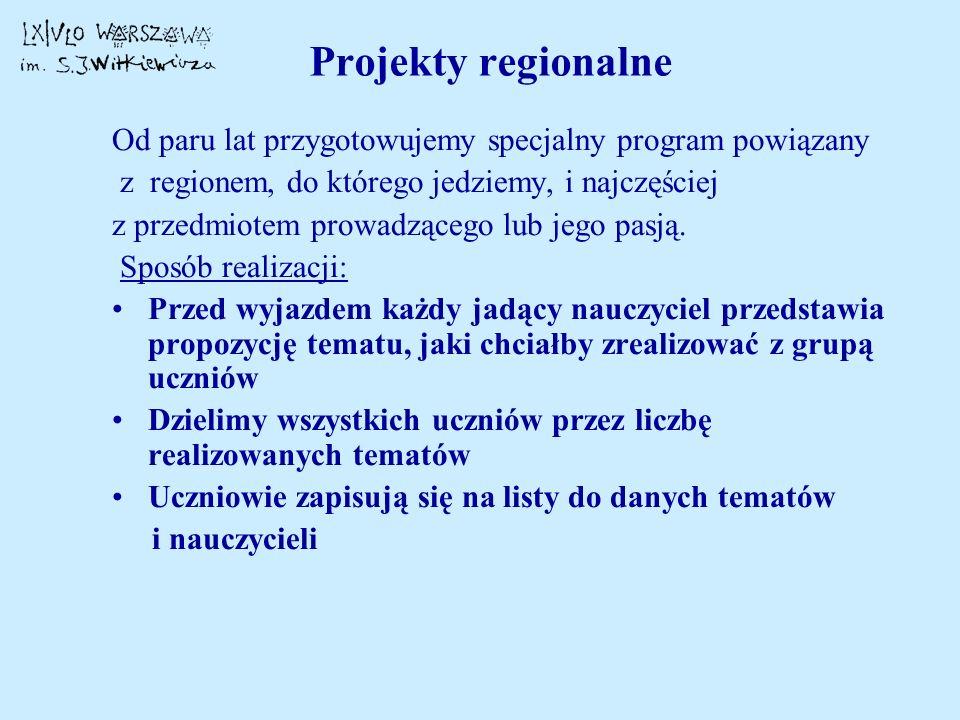 Projekty regionalne Od paru lat przygotowujemy specjalny program powiązany. z regionem, do którego jedziemy, i najczęściej.