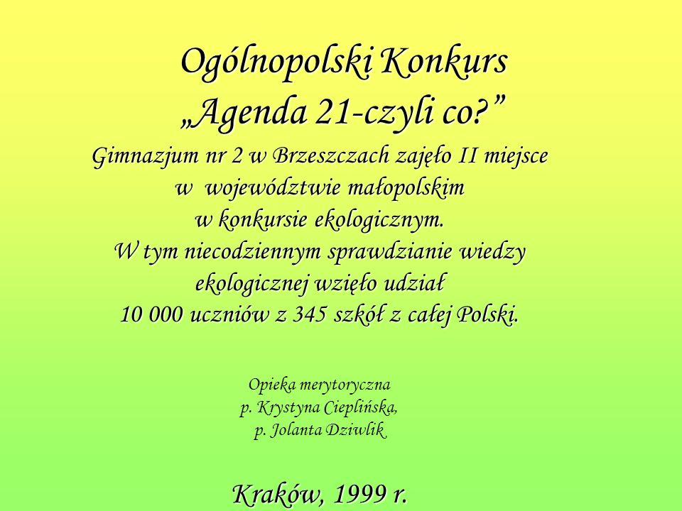 """Ogólnopolski Konkurs """"Agenda 21-czyli co"""