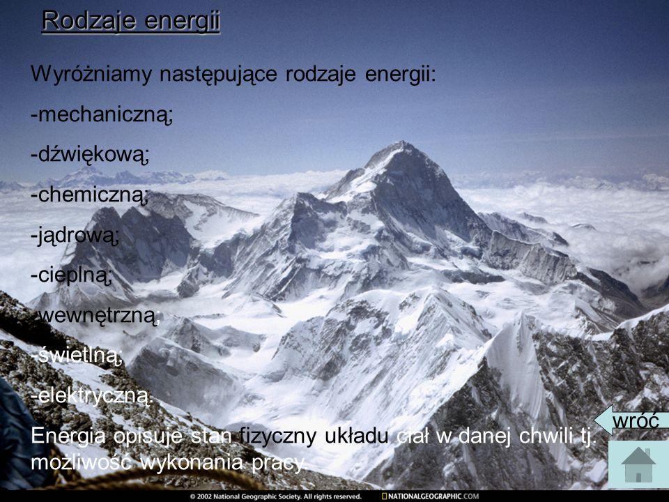 Rodzaje energii Wyróżniamy następujące rodzaje energii: -mechaniczną;