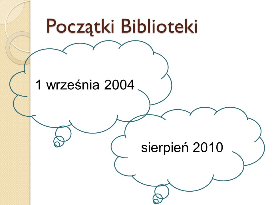 Początki Biblioteki 1 września 2004 sierpień 2010