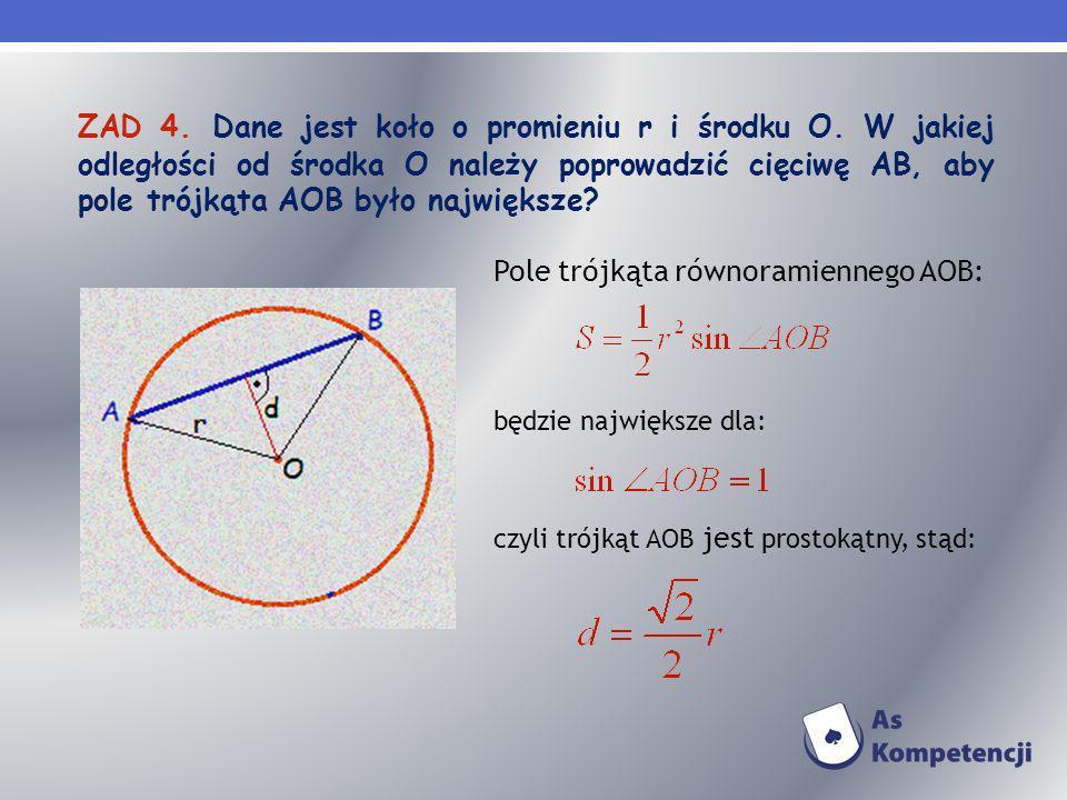 Pole trójkąta równoramiennego AOB: