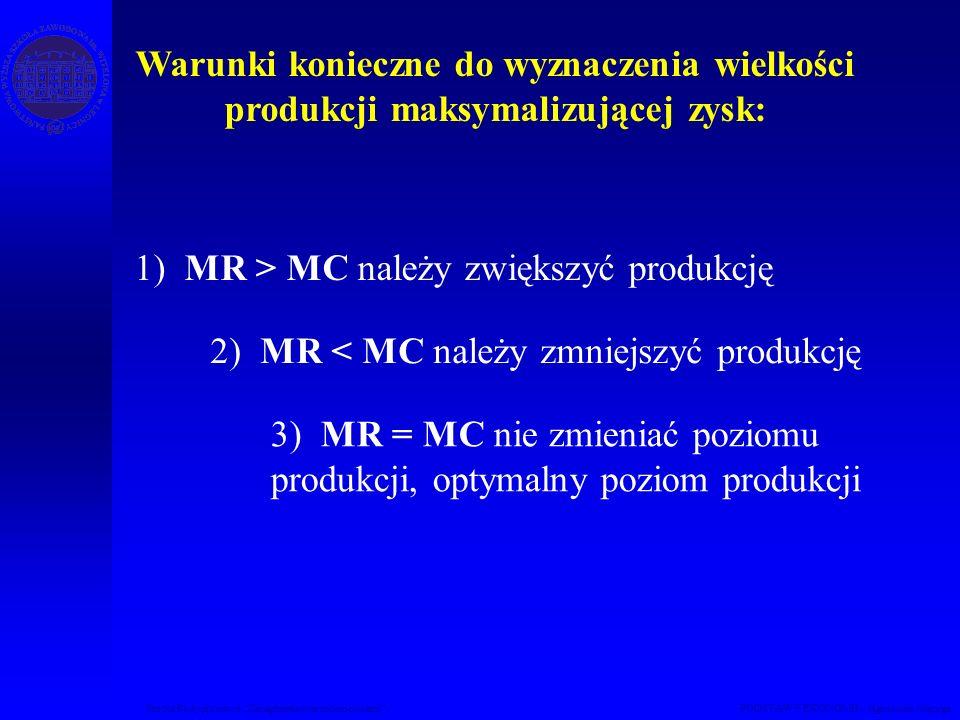 1) MR > MC należy zwiększyć produkcję