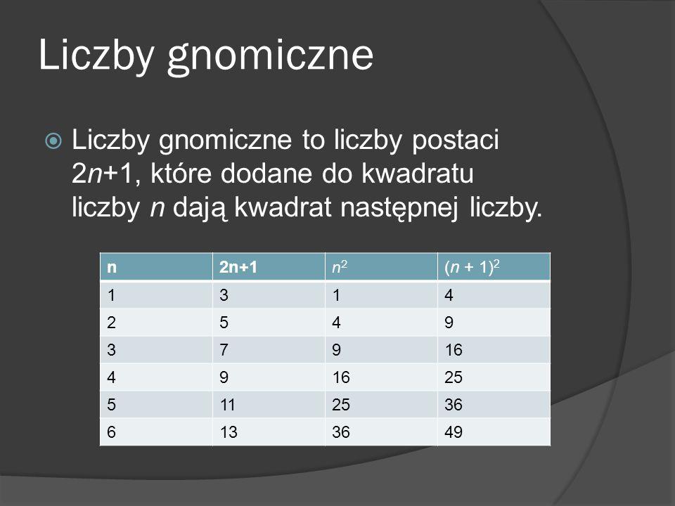 Liczby gnomiczne Liczby gnomiczne to liczby postaci 2n+1, które dodane do kwadratu liczby n dają kwadrat następnej liczby.