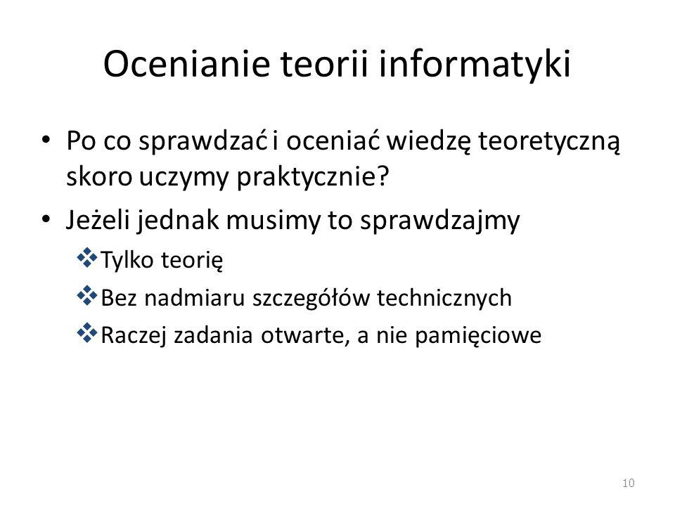 Ocenianie teorii informatyki