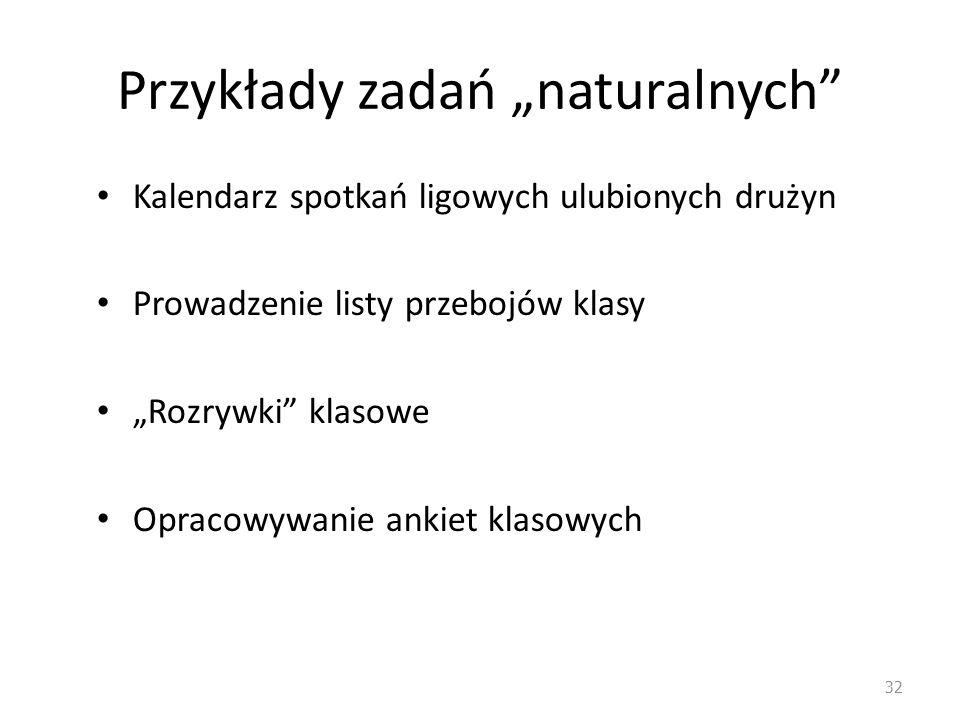 """Przykłady zadań """"naturalnych"""