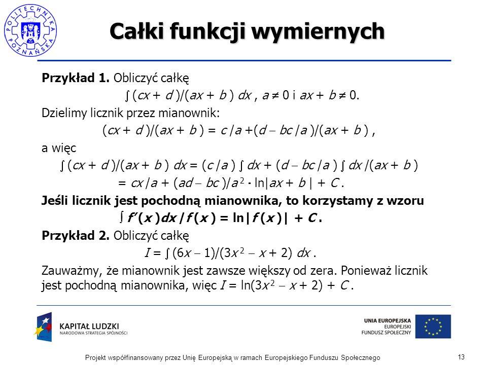 Całki funkcji wymiernych