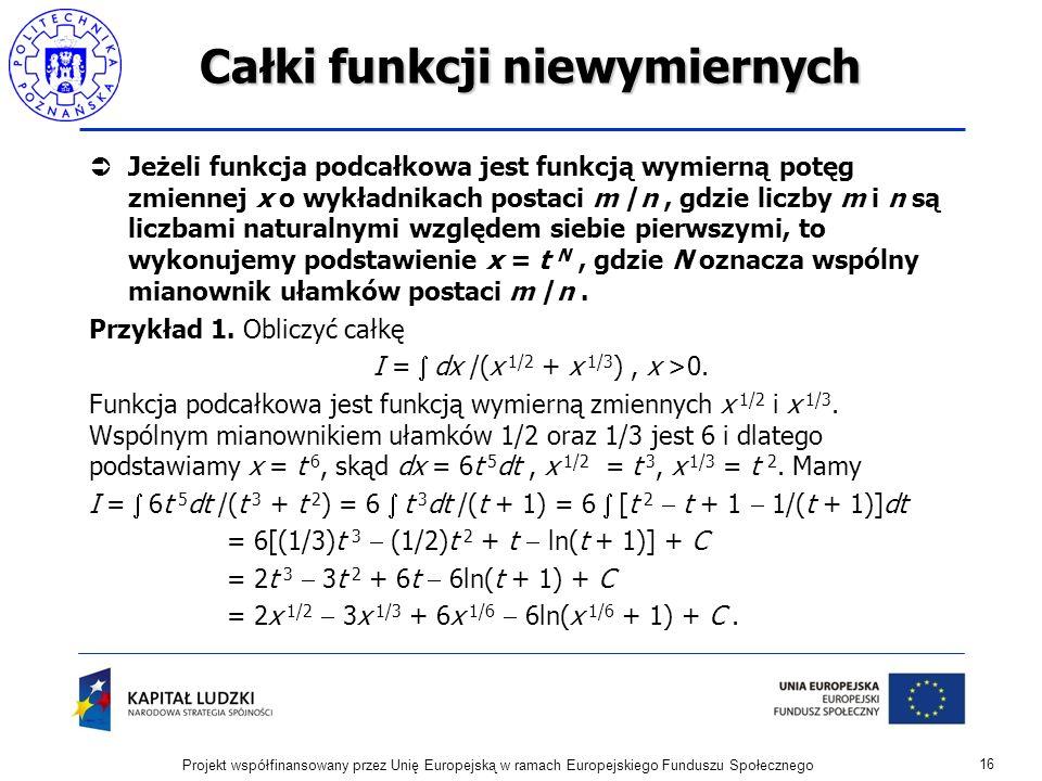 Całki funkcji niewymiernych