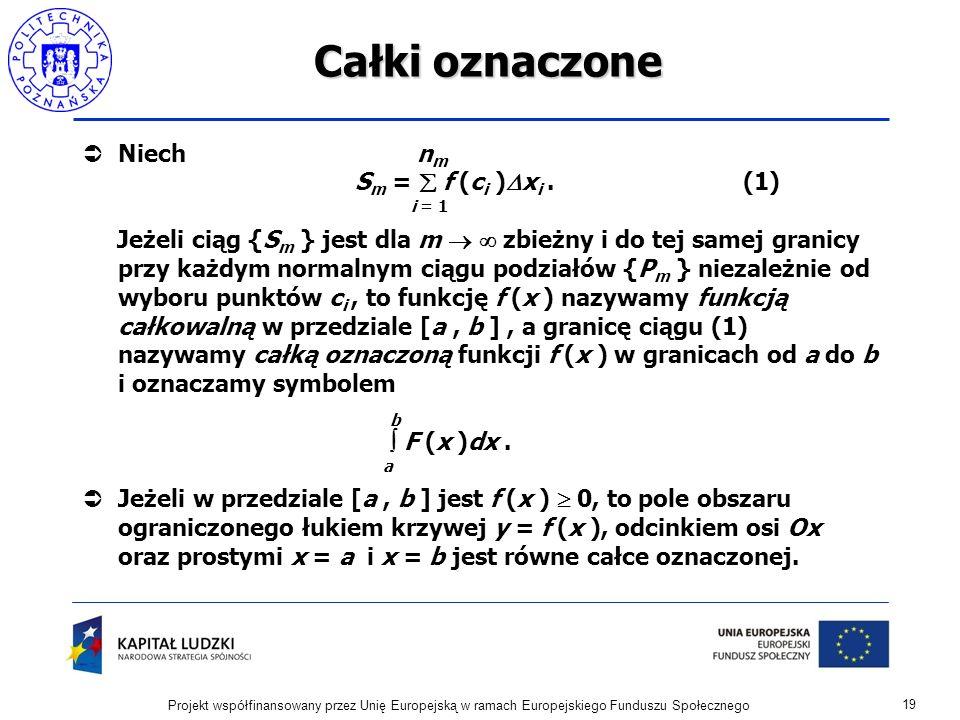 Całki oznaczone Niech nm Sm =  f (ci )xi . (1) i = 1