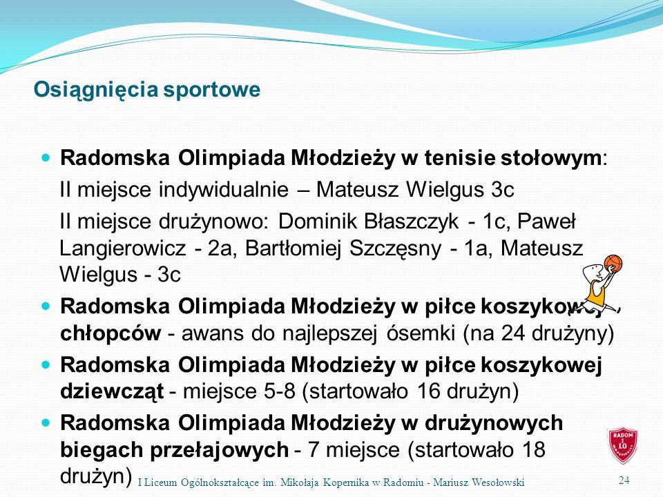Radomska Olimpiada Młodzieży w tenisie stołowym: