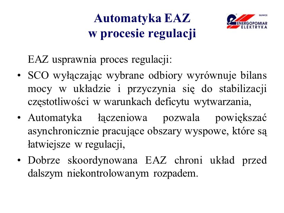 Automatyka EAZ w procesie regulacji