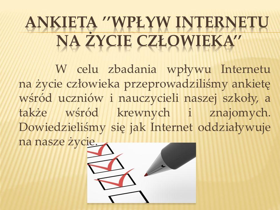 ANKIETA ''Wpływ Internetu na życie człowieka''
