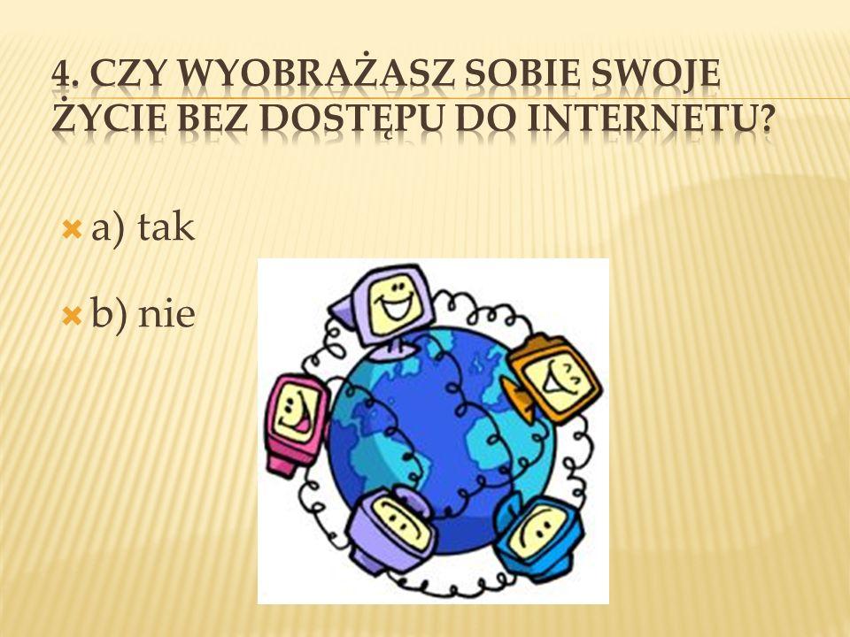 4. Czy wyobrażasz sobie swoje życie bez dostępu do Internetu