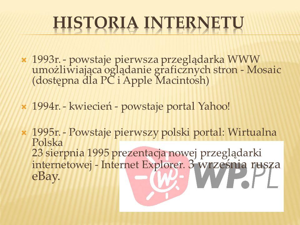 HISTORIA INTERNETU 1993r. - powstaje pierwsza przeglądarka WWW umożliwiająca oglądanie graficznych stron - Mosaic (dostępna dla PC i Apple Macintosh)