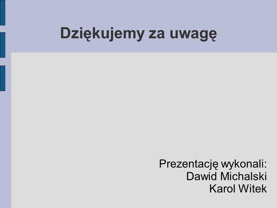 Prezentację wykonali: Dawid Michalski Karol Witek