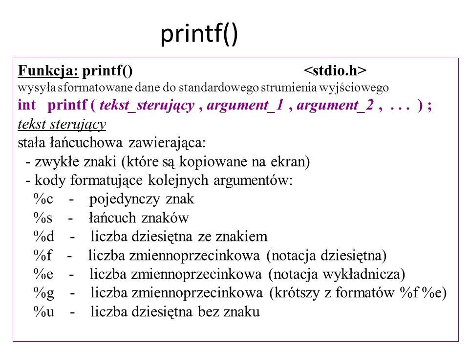 printf() Funkcja: printf() <stdio.h>