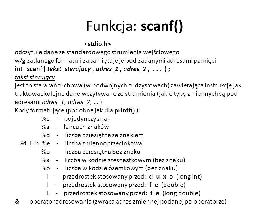 Funkcja: scanf() <stdio.h>