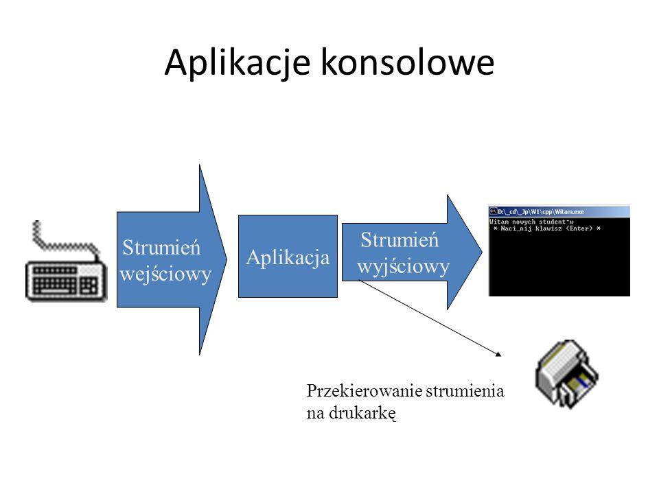 Aplikacje konsolowe Strumień Strumień wejściowy wyjściowy Aplikacja