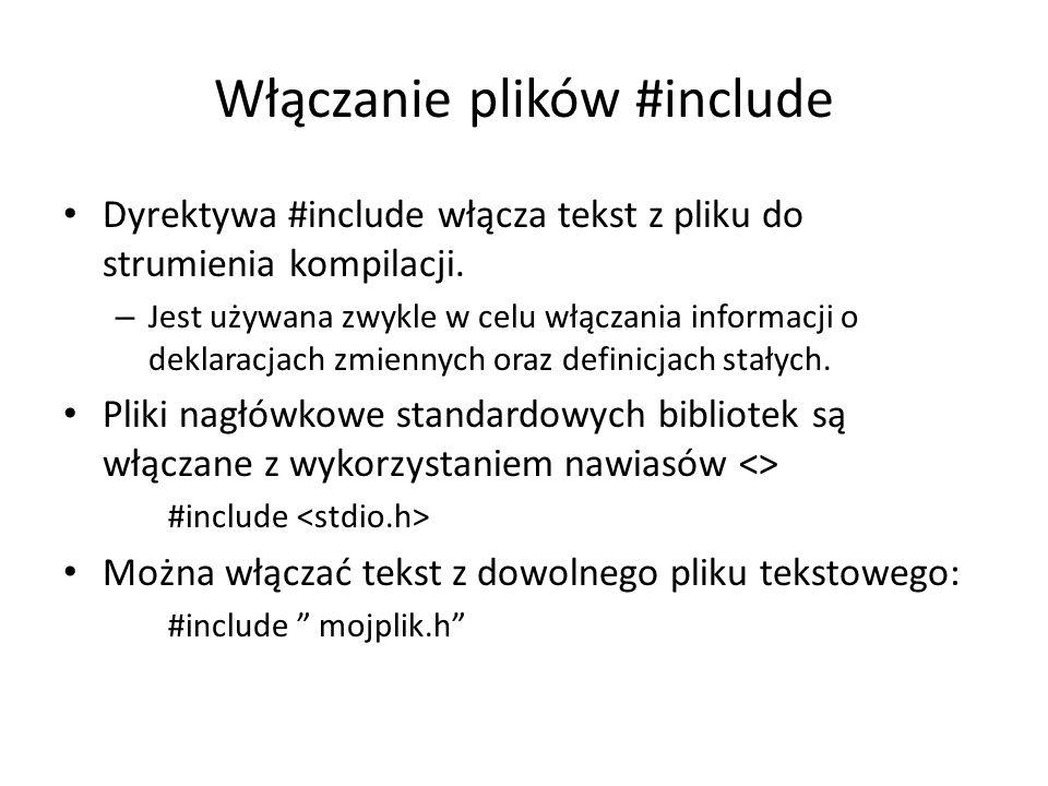 Włączanie plików #include