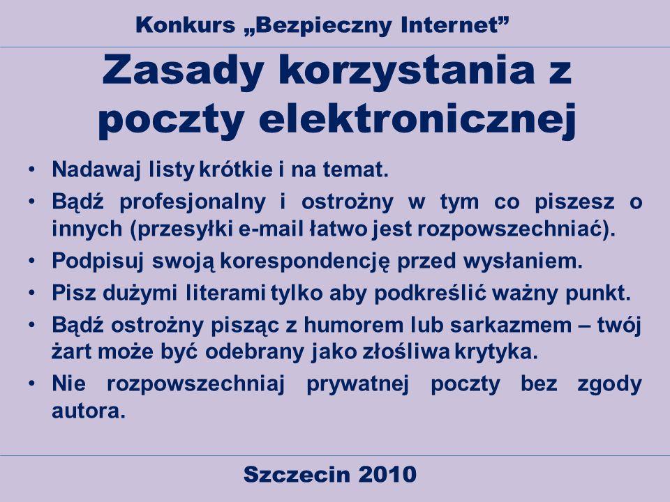 Zasady korzystania z poczty elektronicznej