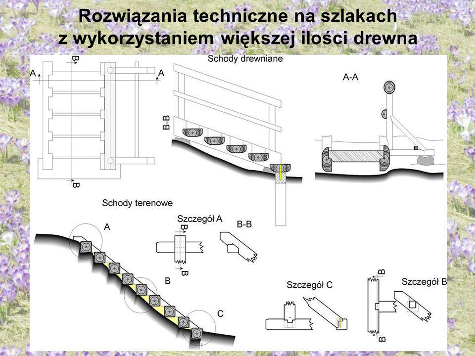Rozwiązania techniczne na szlakach z wykorzystaniem większej ilości drewna