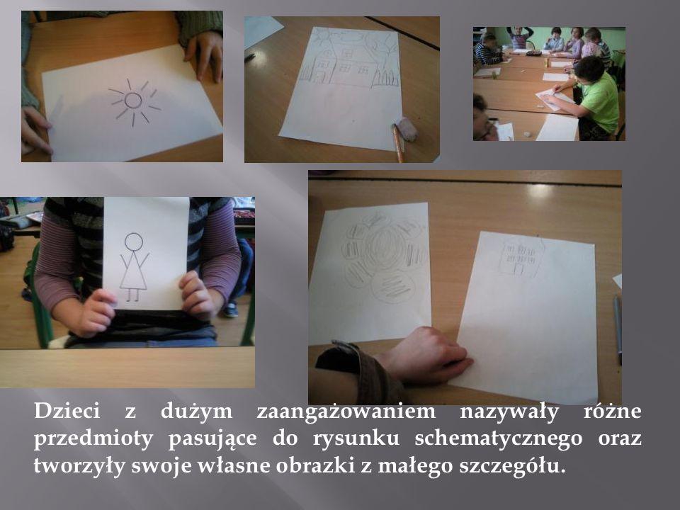 Dzieci z dużym zaangażowaniem nazywały różne przedmioty pasujące do rysunku schematycznego oraz tworzyły swoje własne obrazki z małego szczegółu.