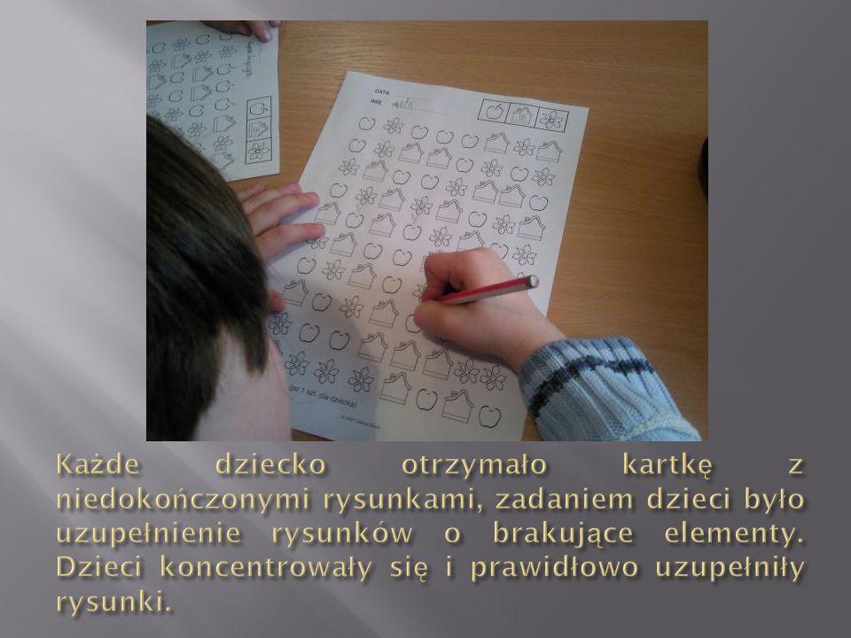 Każde dziecko otrzymało kartkę z niedokończonymi rysunkami, zadaniem dzieci było uzupełnienie rysunków o brakujące elementy.