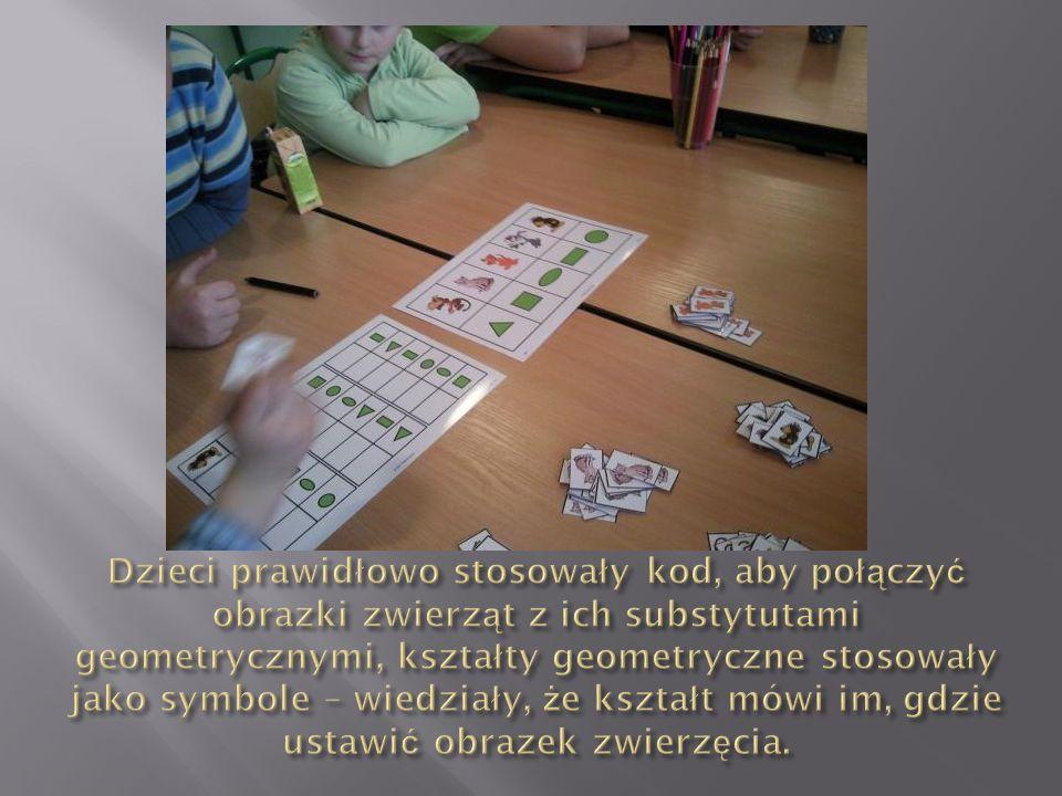 Dzieci prawidłowo stosowały kod, aby połączyć obrazki zwierząt z ich substytutami geometrycznymi, kształty geometryczne stosowały jako symbole – wiedziały, że kształt mówi im, gdzie ustawić obrazek zwierzęcia.