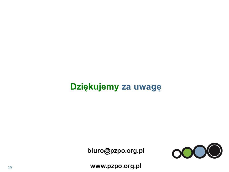 Dziękujemy za uwagę biuro@pzpo.org.pl www.pzpo.org.pl 29
