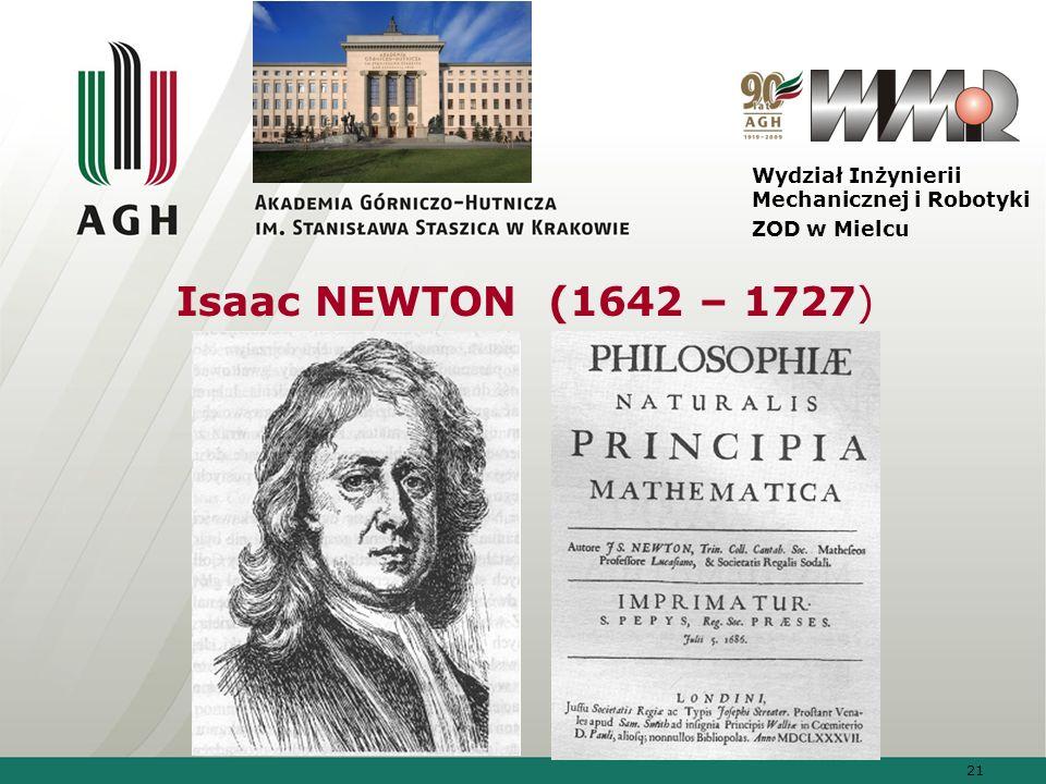 Isaac NEWTON (1642 – 1727) Wydział Inżynierii Mechanicznej i Robotyki