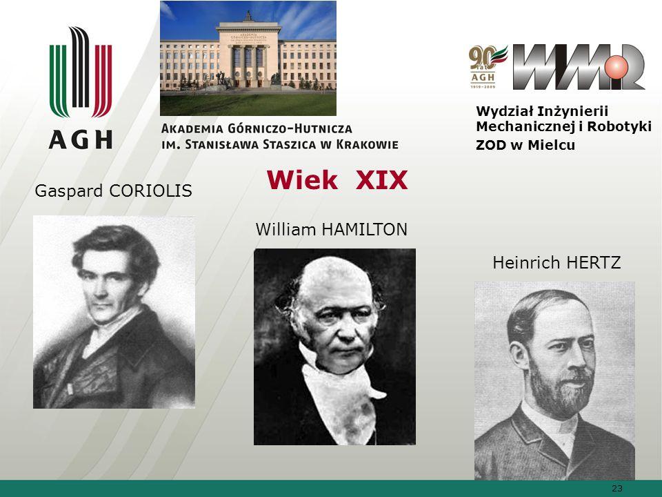 Wiek XIX Gaspard CORIOLIS William HAMILTON Heinrich HERTZ