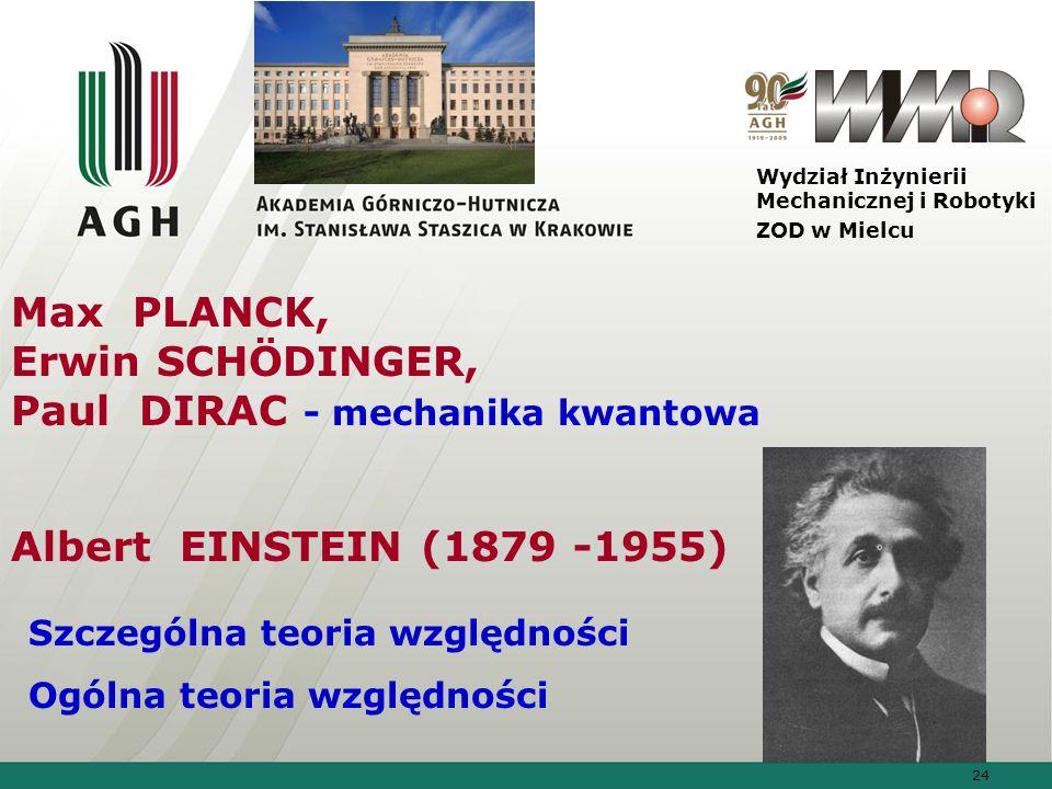 Max PLANCK, Erwin SCHÖDINGER, Paul DIRAC - mechanika kwantowa