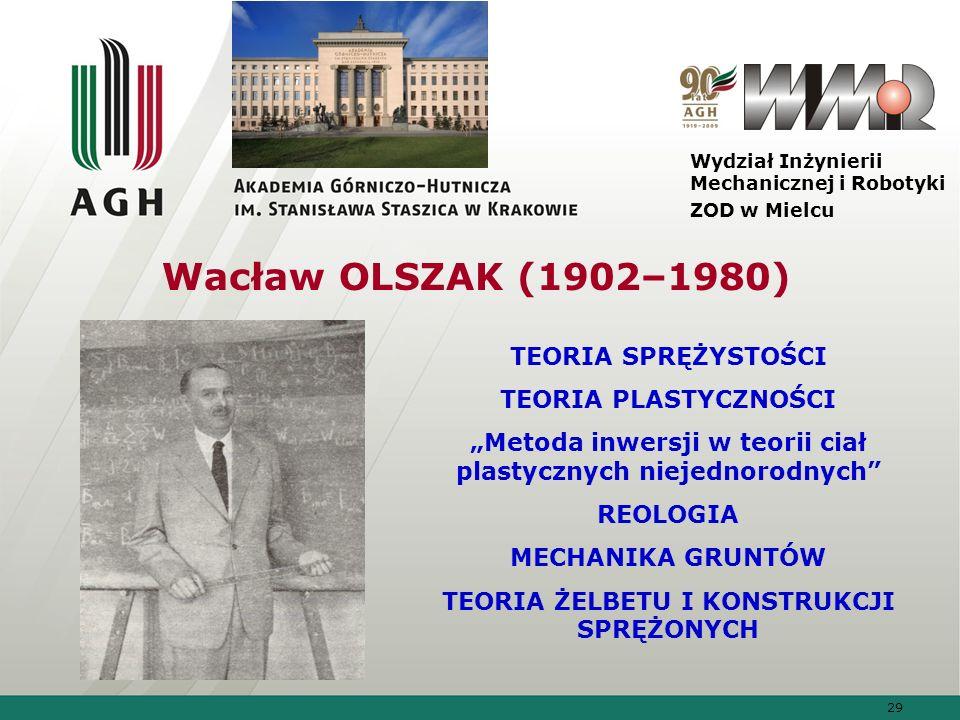 Wacław OLSZAK (1902–1980) TEORIA SPRĘŻYSTOŚCI TEORIA PLASTYCZNOŚCI