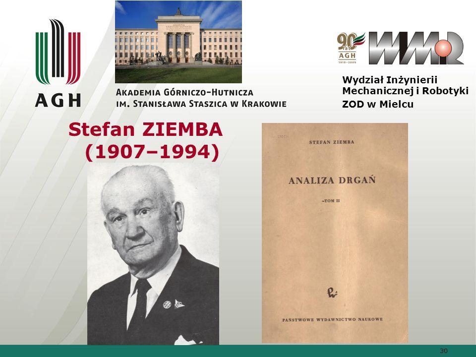 Stefan ZIEMBA (1907–1994) Wydział Inżynierii Mechanicznej i Robotyki