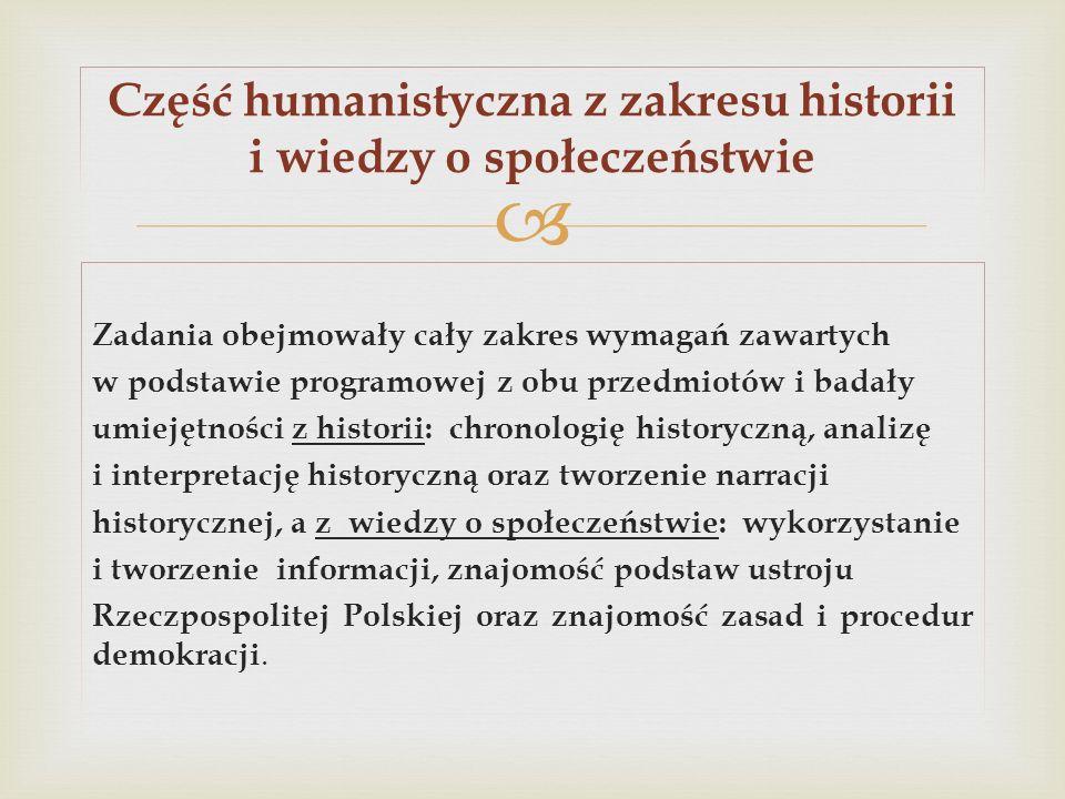 Część humanistyczna z zakresu historii i wiedzy o społeczeństwie