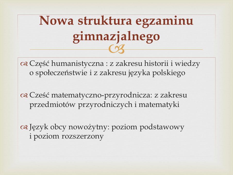 Nowa struktura egzaminu gimnazjalnego