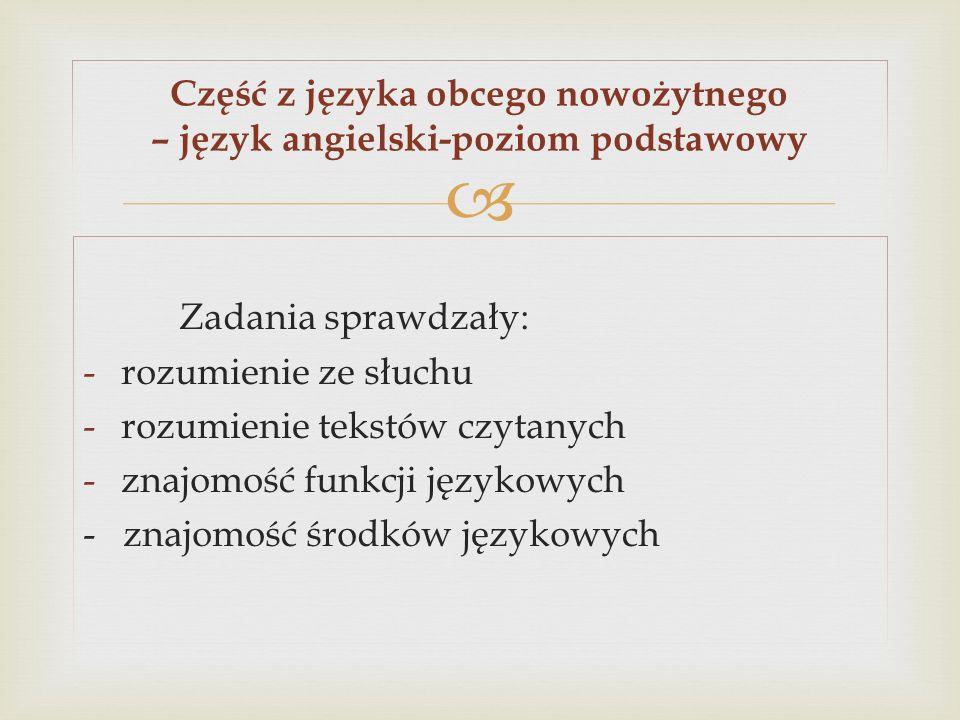 Część z języka obcego nowożytnego – język angielski-poziom podstawowy