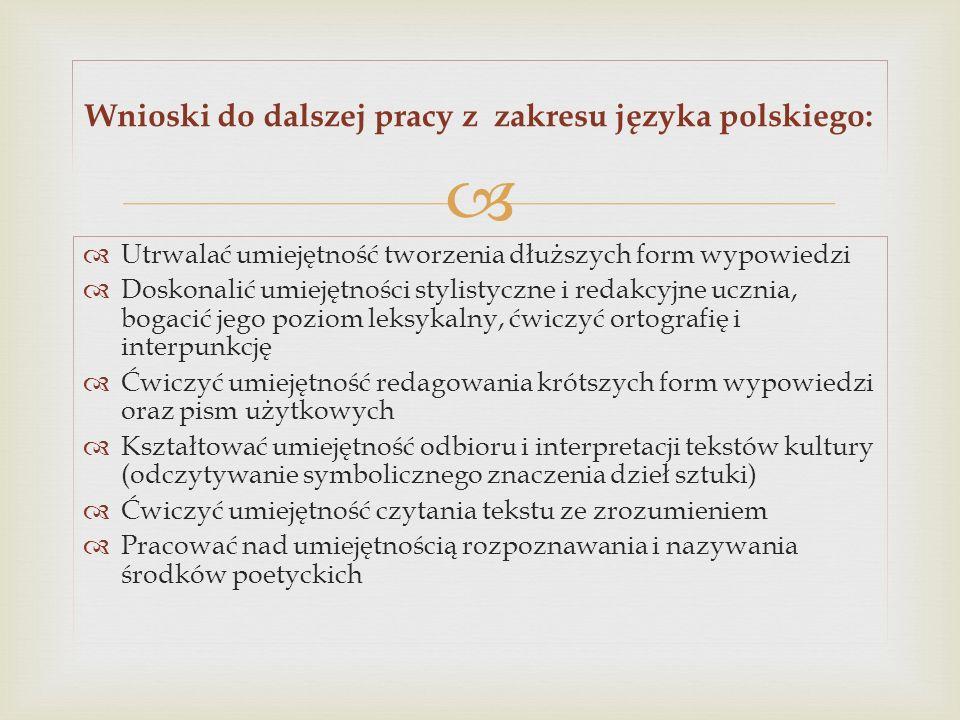 Wnioski do dalszej pracy z zakresu języka polskiego: