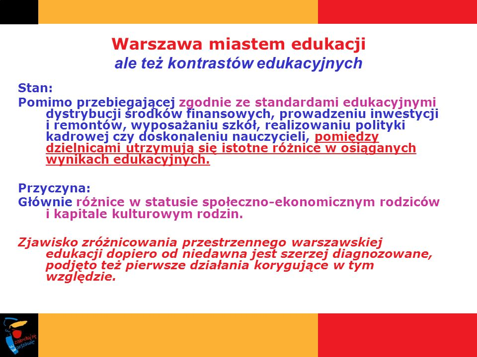 Warszawa miastem edukacji ale też kontrastów edukacyjnych