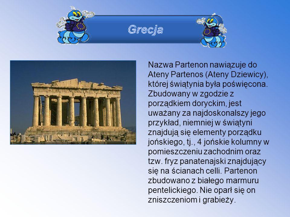 Nazwa Partenon nawiązuje do Ateny Partenos (Ateny Dziewicy), której świątynia była poświęcona.