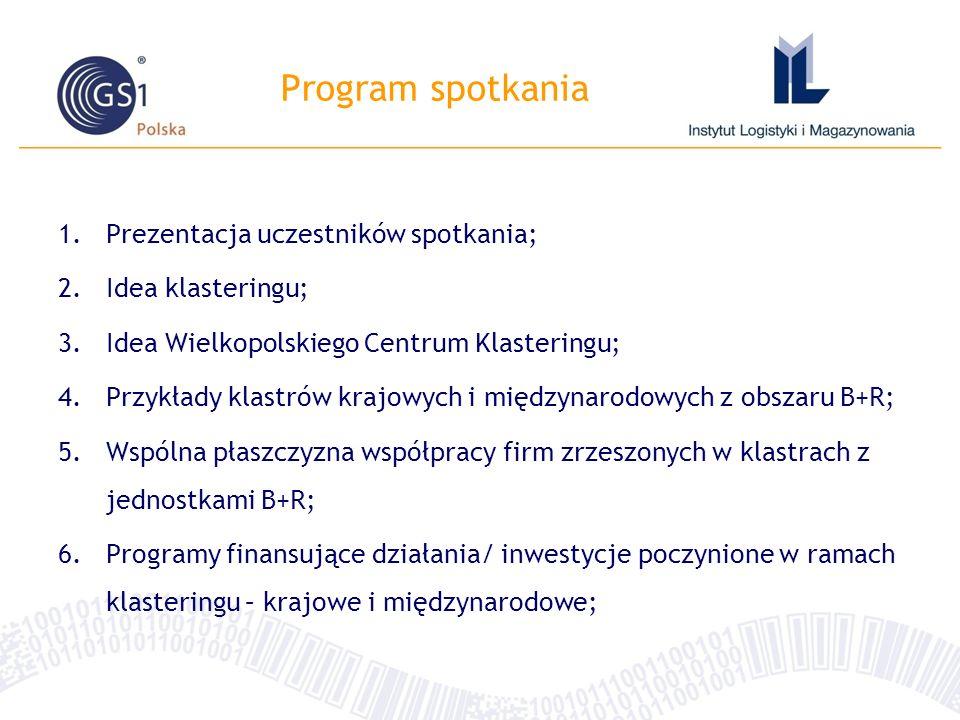 Program spotkania Prezentacja uczestników spotkania; Idea klasteringu;
