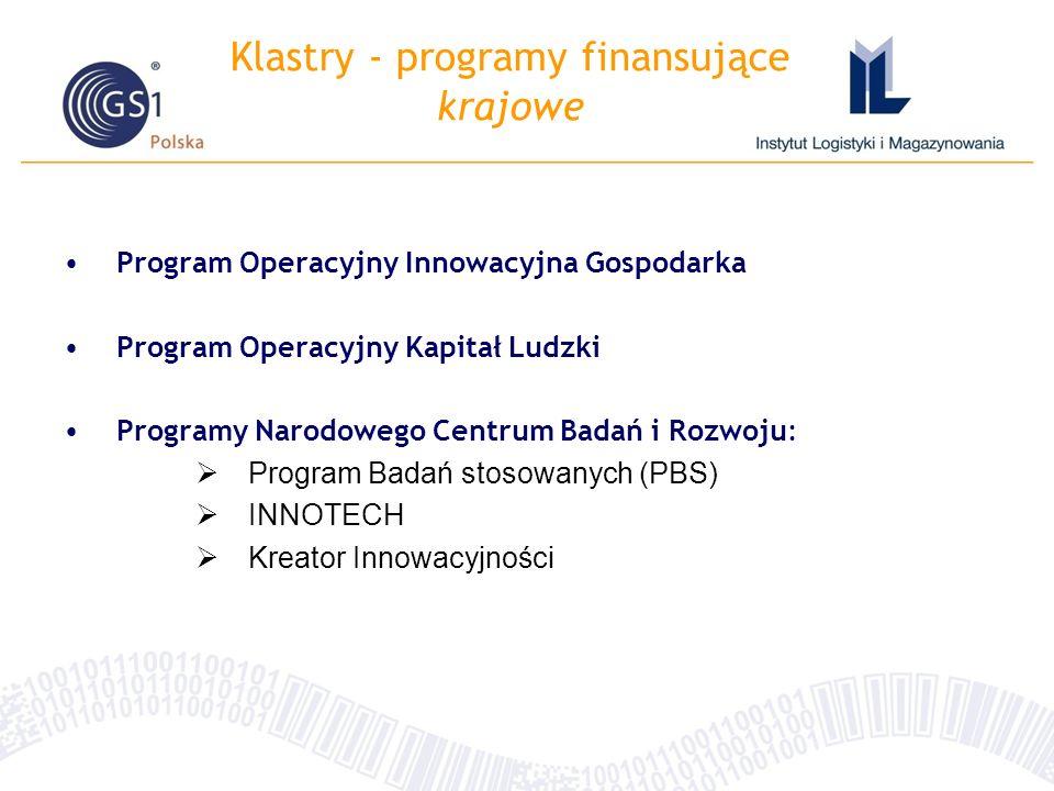 Klastry - programy finansujące krajowe
