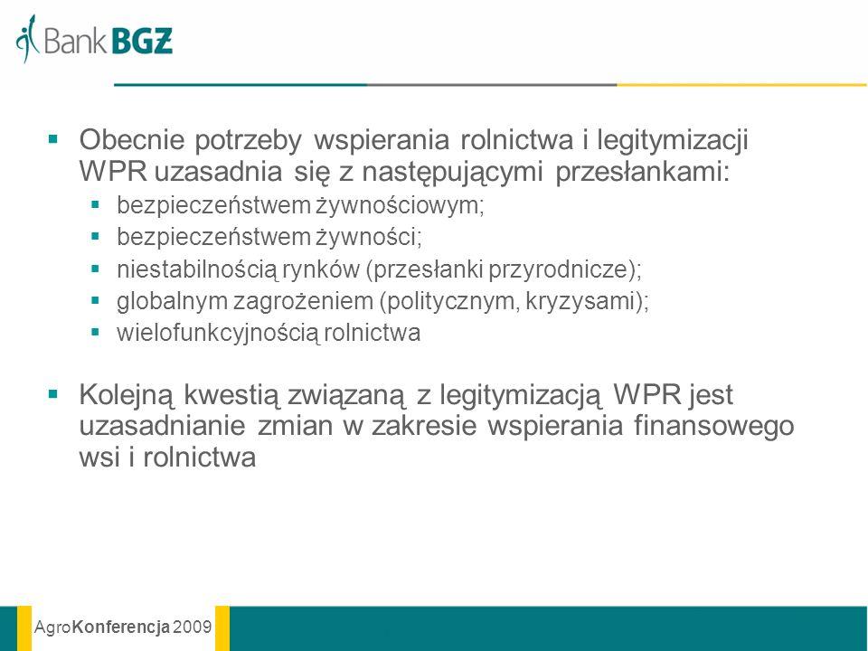 Obecnie potrzeby wspierania rolnictwa i legitymizacji WPR uzasadnia się z następującymi przesłankami: