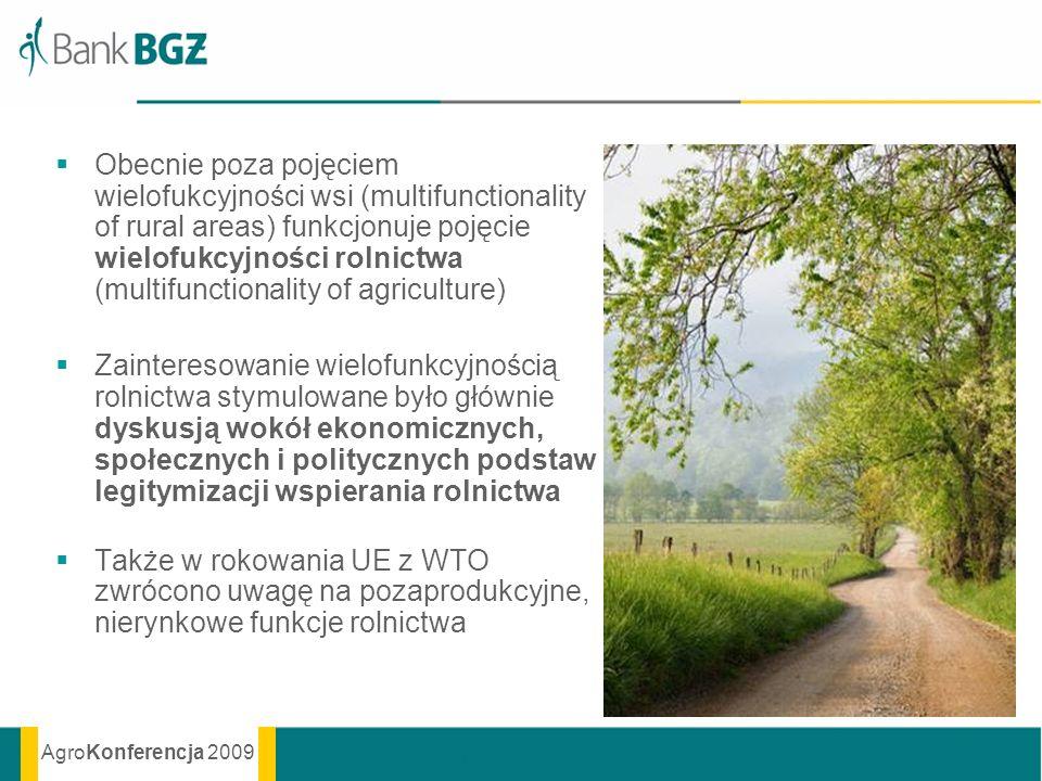 Obecnie poza pojęciem wielofukcyjności wsi (multifunctionality of rural areas) funkcjonuje pojęcie wielofukcyjności rolnictwa (multifunctionality of agriculture)