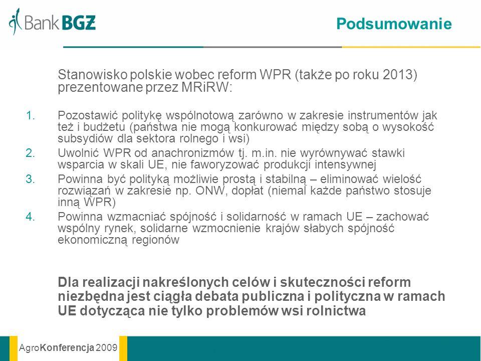 Podsumowanie Stanowisko polskie wobec reform WPR (także po roku 2013) prezentowane przez MRiRW: