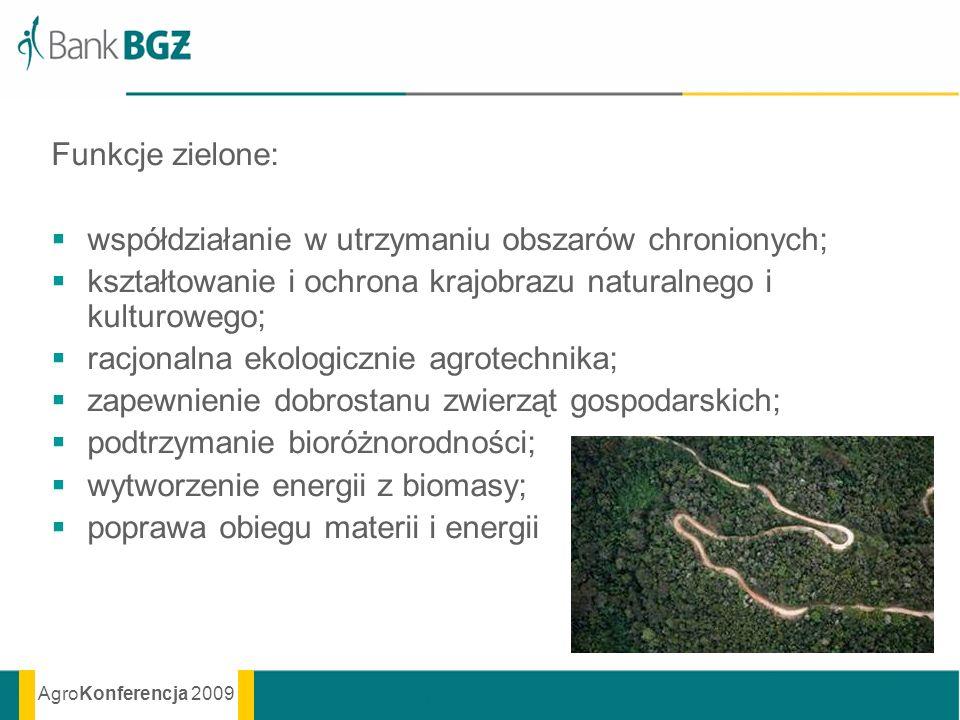 Funkcje zielone: współdziałanie w utrzymaniu obszarów chronionych; kształtowanie i ochrona krajobrazu naturalnego i kulturowego;