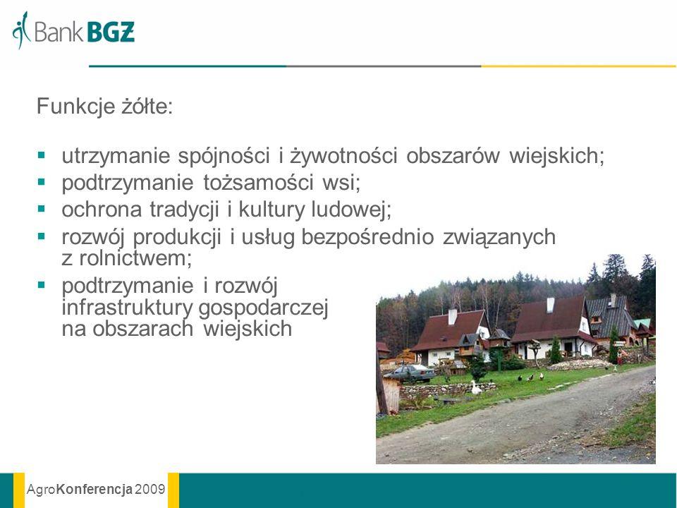 Funkcje żółte: utrzymanie spójności i żywotności obszarów wiejskich; podtrzymanie tożsamości wsi; ochrona tradycji i kultury ludowej;