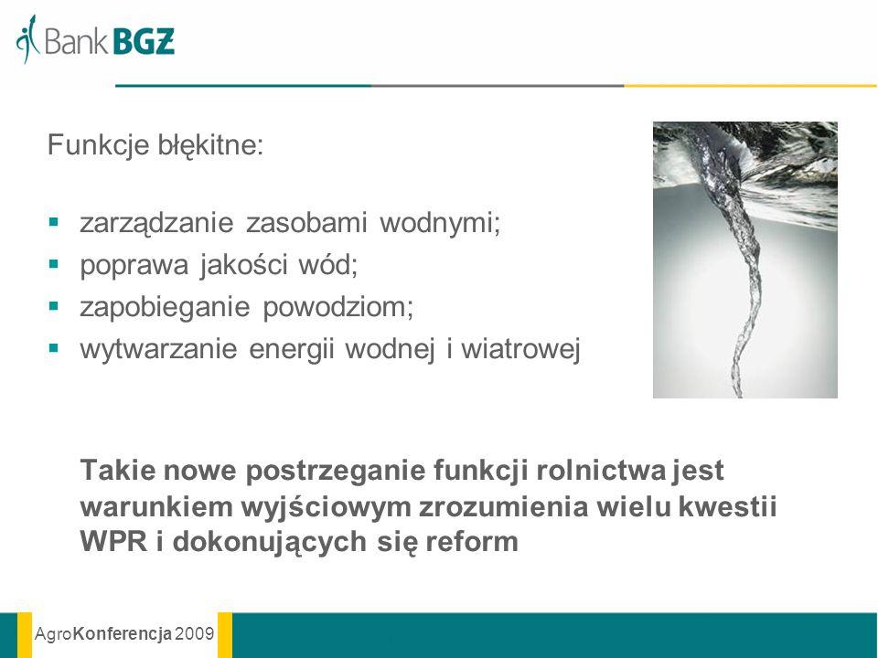 Funkcje błękitne: zarządzanie zasobami wodnymi; poprawa jakości wód; zapobieganie powodziom; wytwarzanie energii wodnej i wiatrowej.