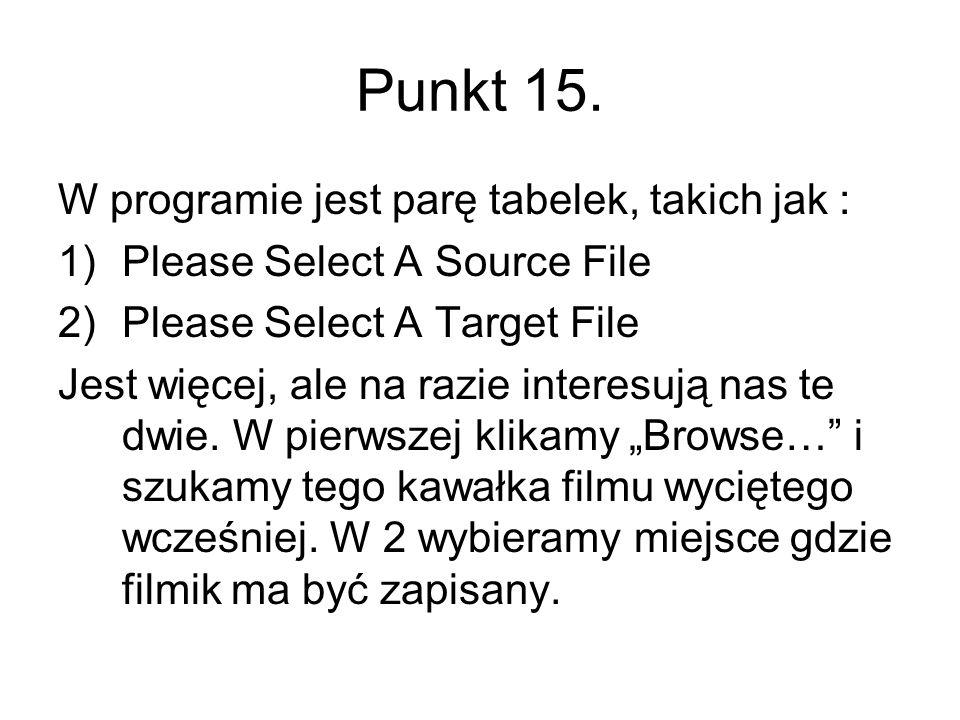 Punkt 15. W programie jest parę tabelek, takich jak :