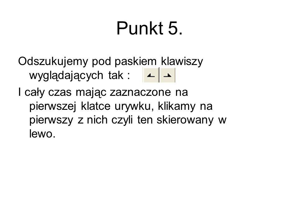 Punkt 5. Odszukujemy pod paskiem klawiszy wyglądających tak :