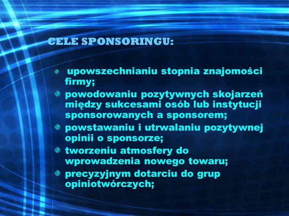 CELE SPONSORINGU: upowszechnianiu stopnia znajomości firmy;